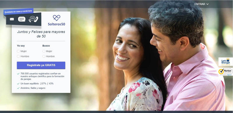 registration screen at Solteros50 dating site