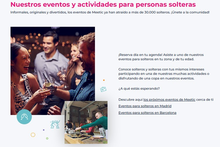 screenshot of meetic events' section on