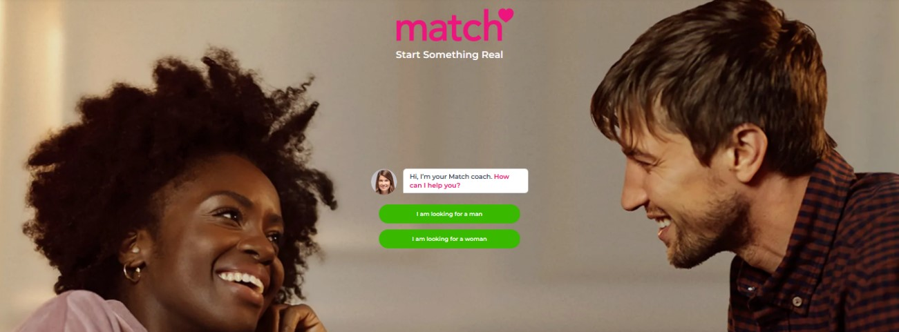 homepage of a match dating site