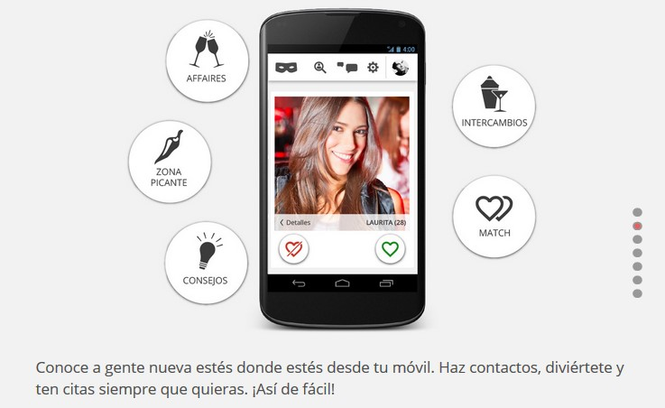 screenshot of a MiAffaire mobile app