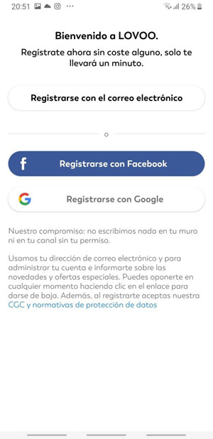 exemple of mobile registration in Lovoo website