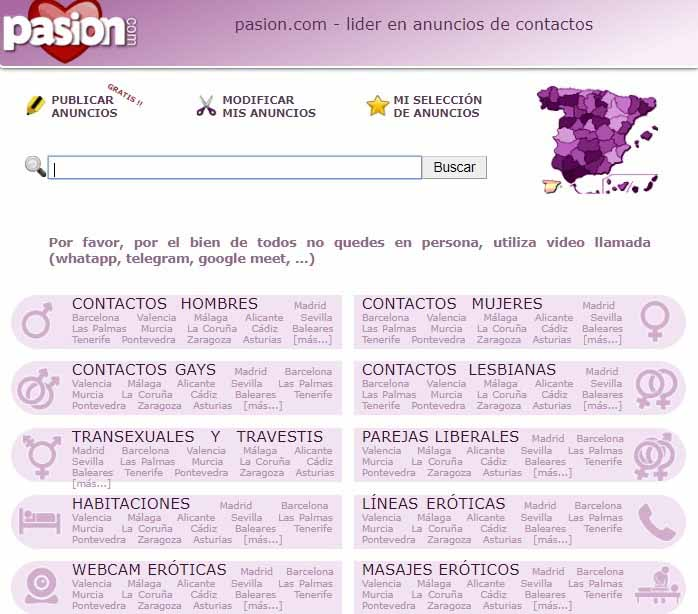 screenshot of searching page on a passion.com dating website