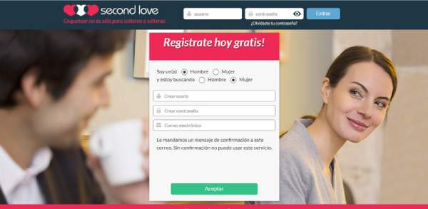exemple of registration at second love dating website